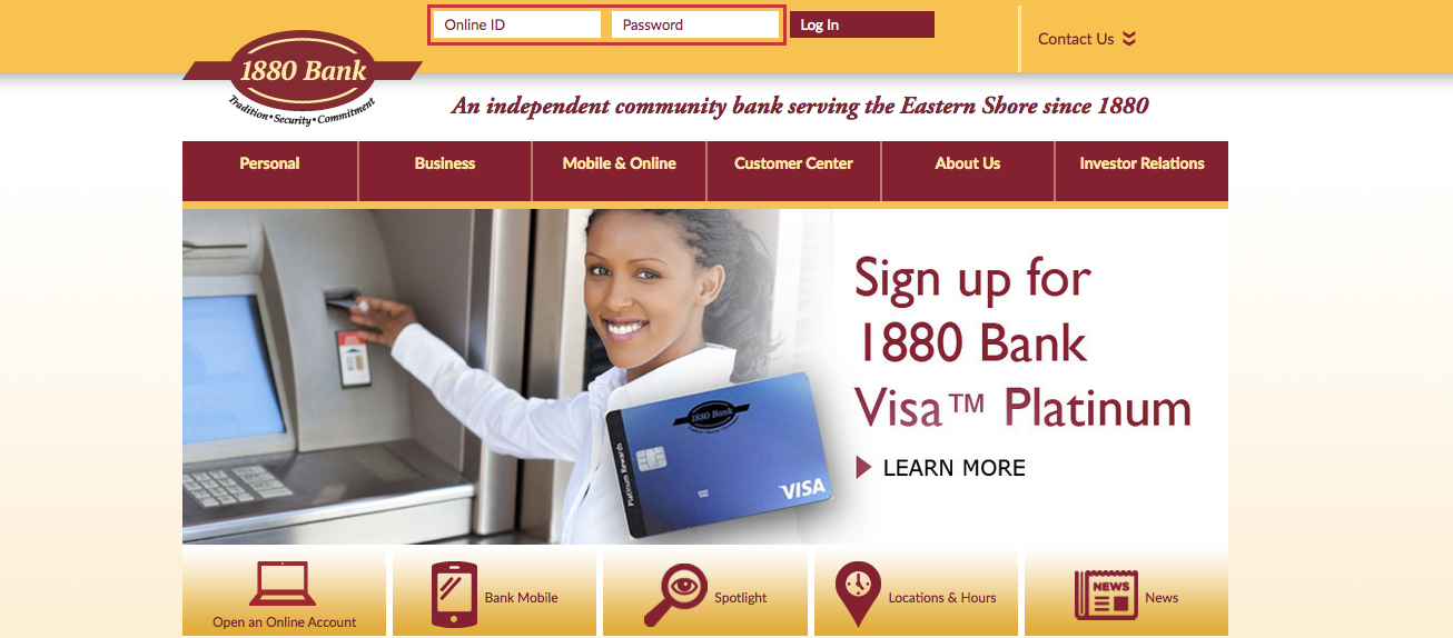 1880 Bank Online Banking Login Steps