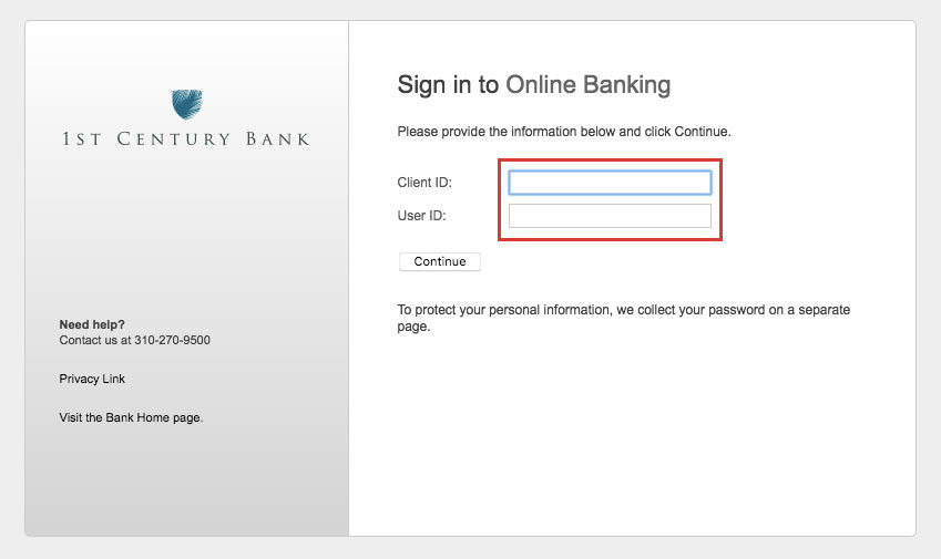 1st Century Bank Online Banking Login Process