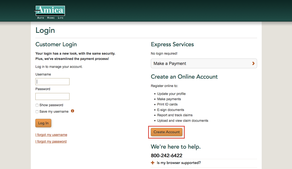 Amica Mutual Insurance Online Login Procedure