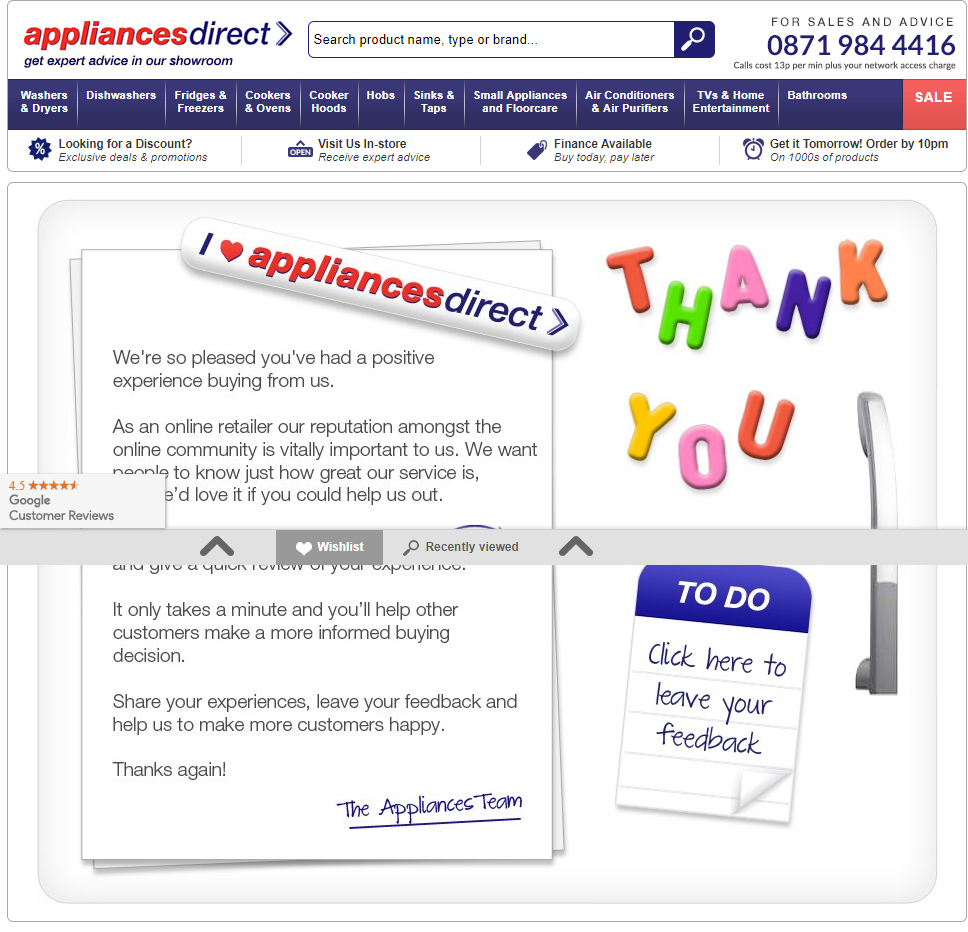 Customer Feedback Appliances Direct