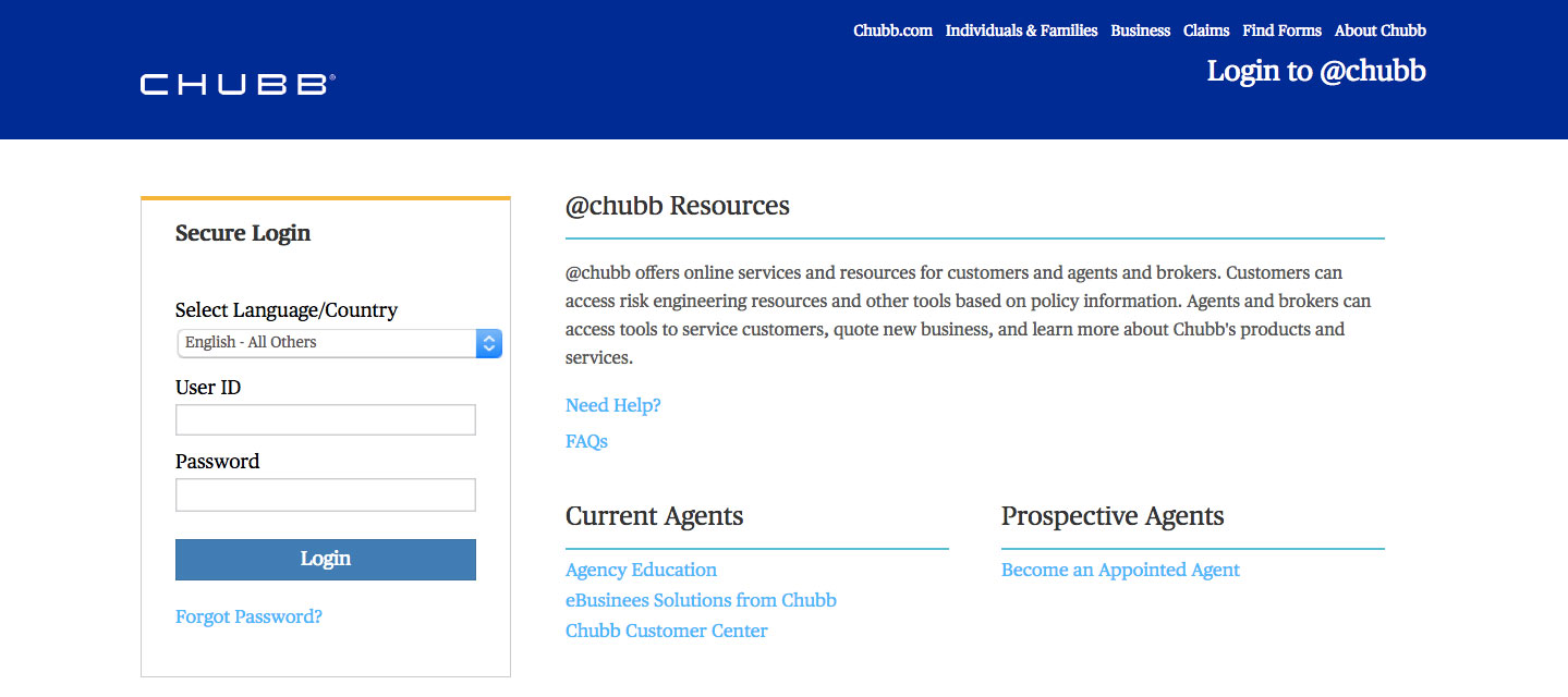 Chubb Group Insurance Online Login Steps