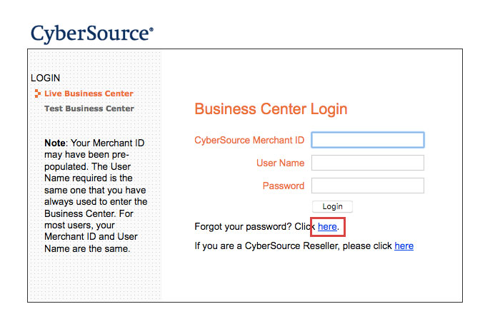 CyberSource Online Payment Login Procedure