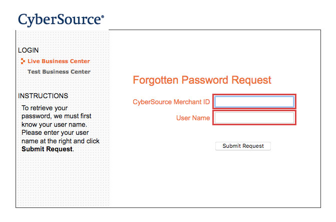 CyberSource Online Payment Login Procedure