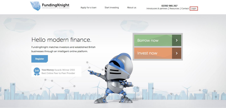 FundingKnight P2P Lending Login Process