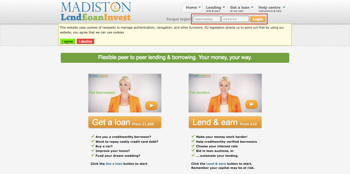 Madiston LendLoanInvest P2P Lending Login Access