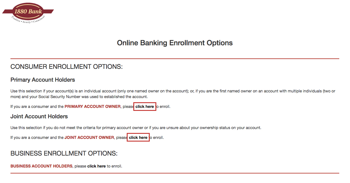 1880 Bank Online Banking Login Steps