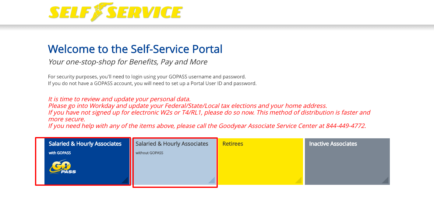 Goodyear Self Service Portal Login Page