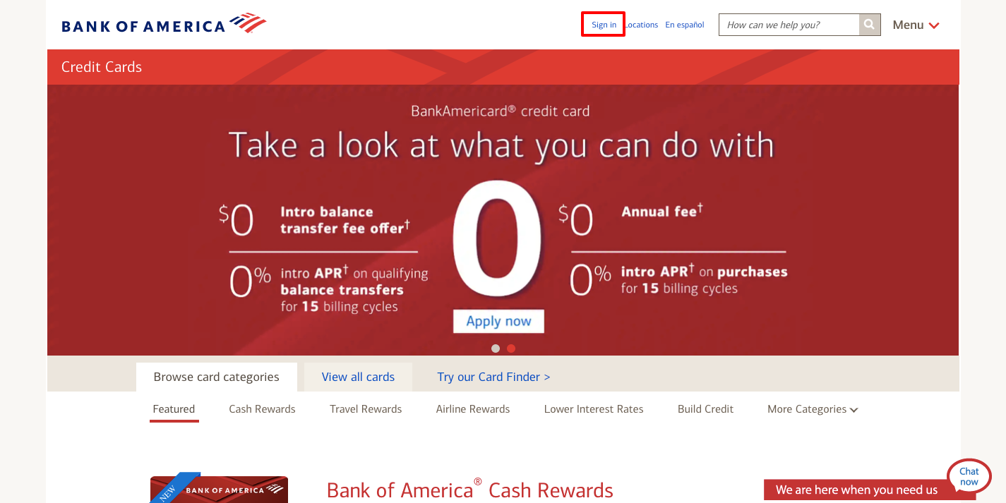 Bank of America Credit Card Login