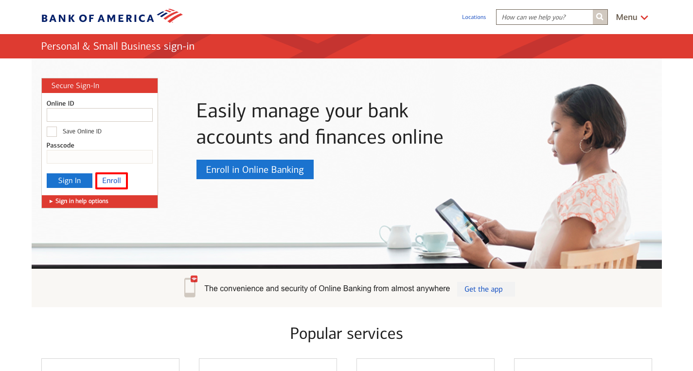 Sign in to Bank of America Online Banking