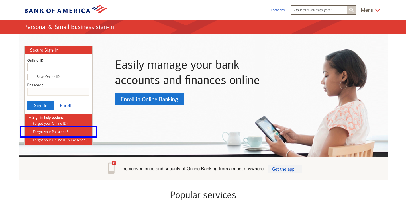 bank of america bank login