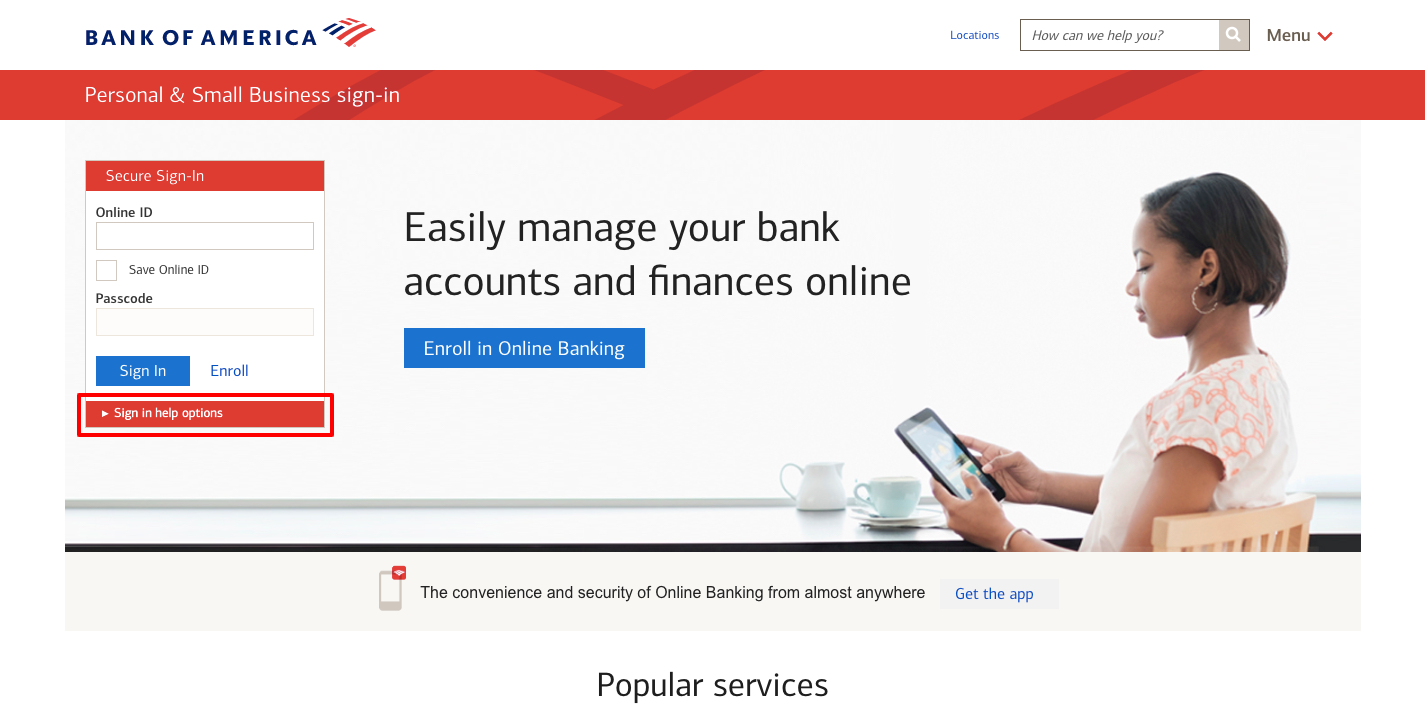 bank of america secure bank login