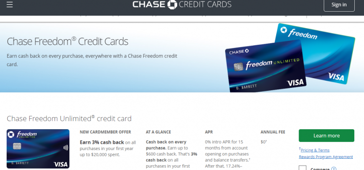www.yourchasefreedom.com – How To Apply Chase Freedom Cash Back Credit card Online