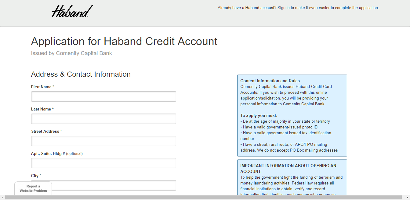 Haband Credit Application
