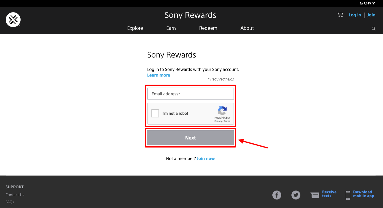 Sony Rewards account Login