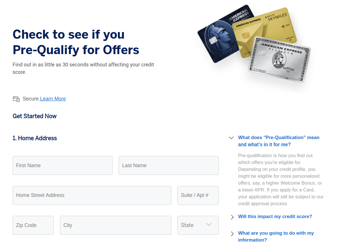 American Express pre-qualify Check