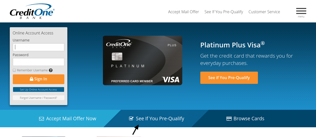 Credit One Bank Card Pre Qualify