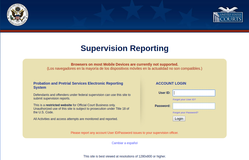 Monthly Supervision Reporting - Login