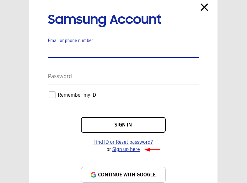 Samsung Kies Sign up