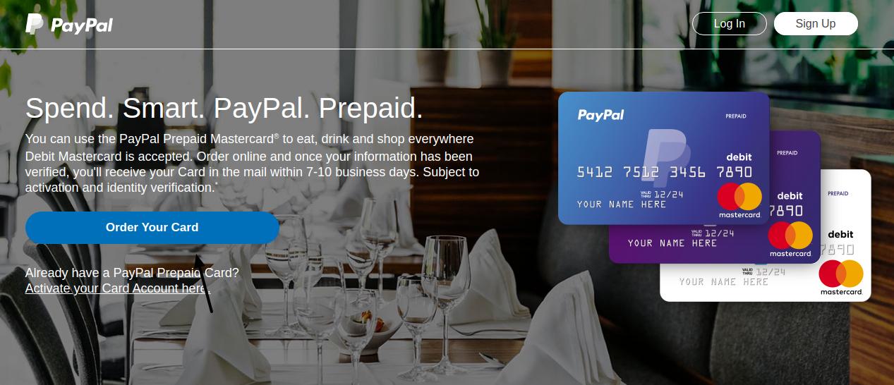 PayPal Prepaid Mastercard Order