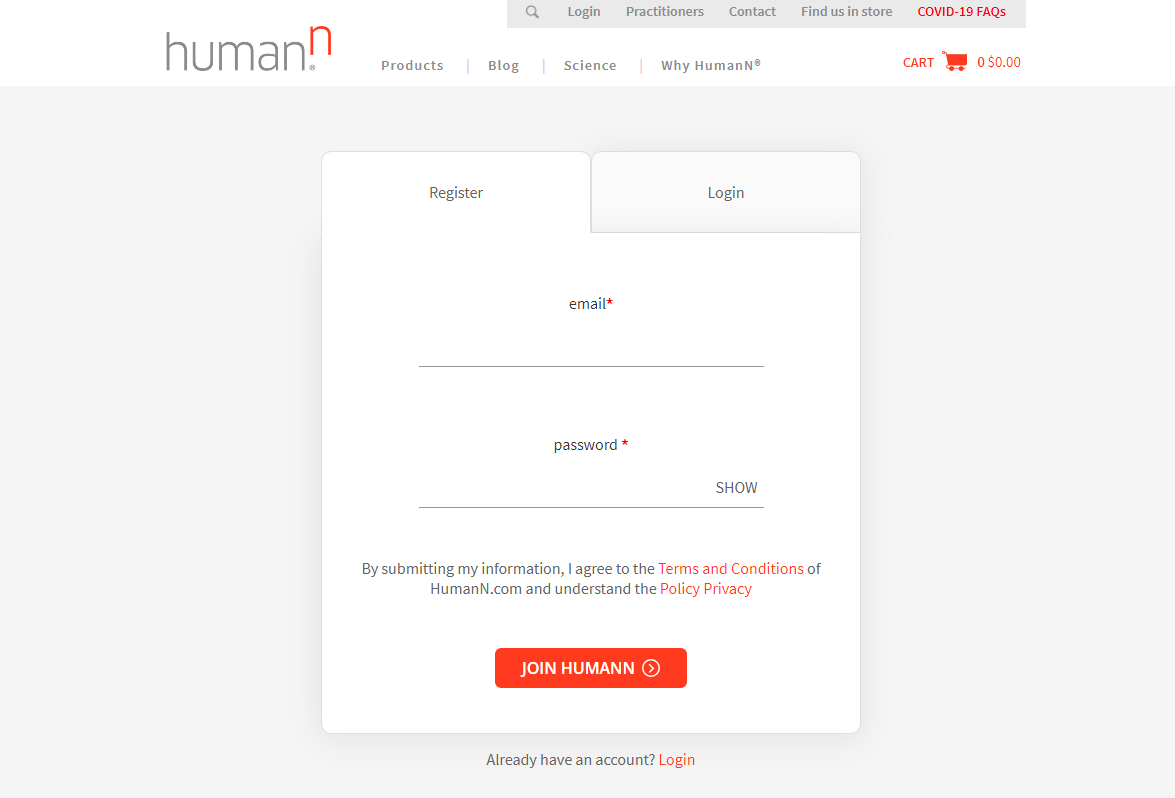 Create HumanN account to order and get exclusive offers