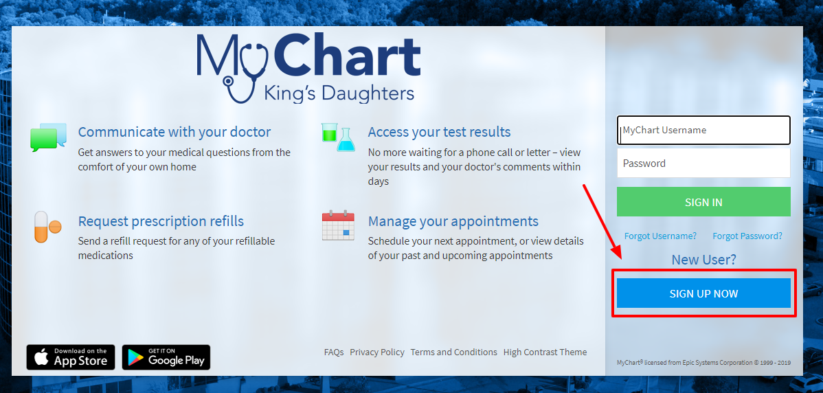 KDMC My Chart King's Daughters Patient System sign up