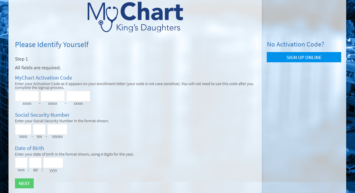 KDMC My Chart King's Daughters Patient System signup