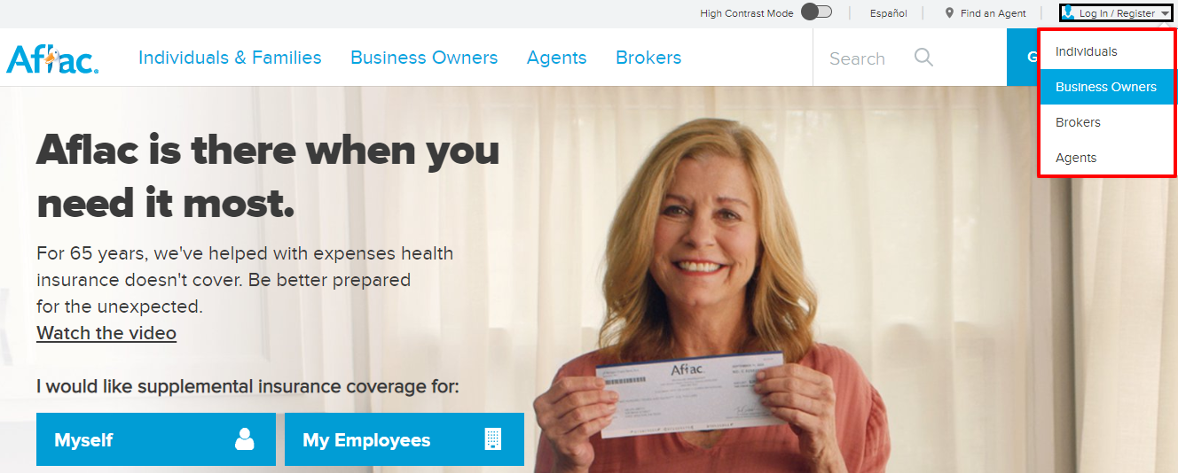 Log in with Aflac Insurance Online Portal