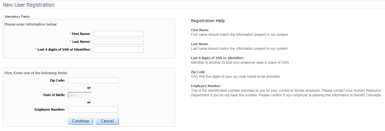 MyBenefits Employee new Account registetion