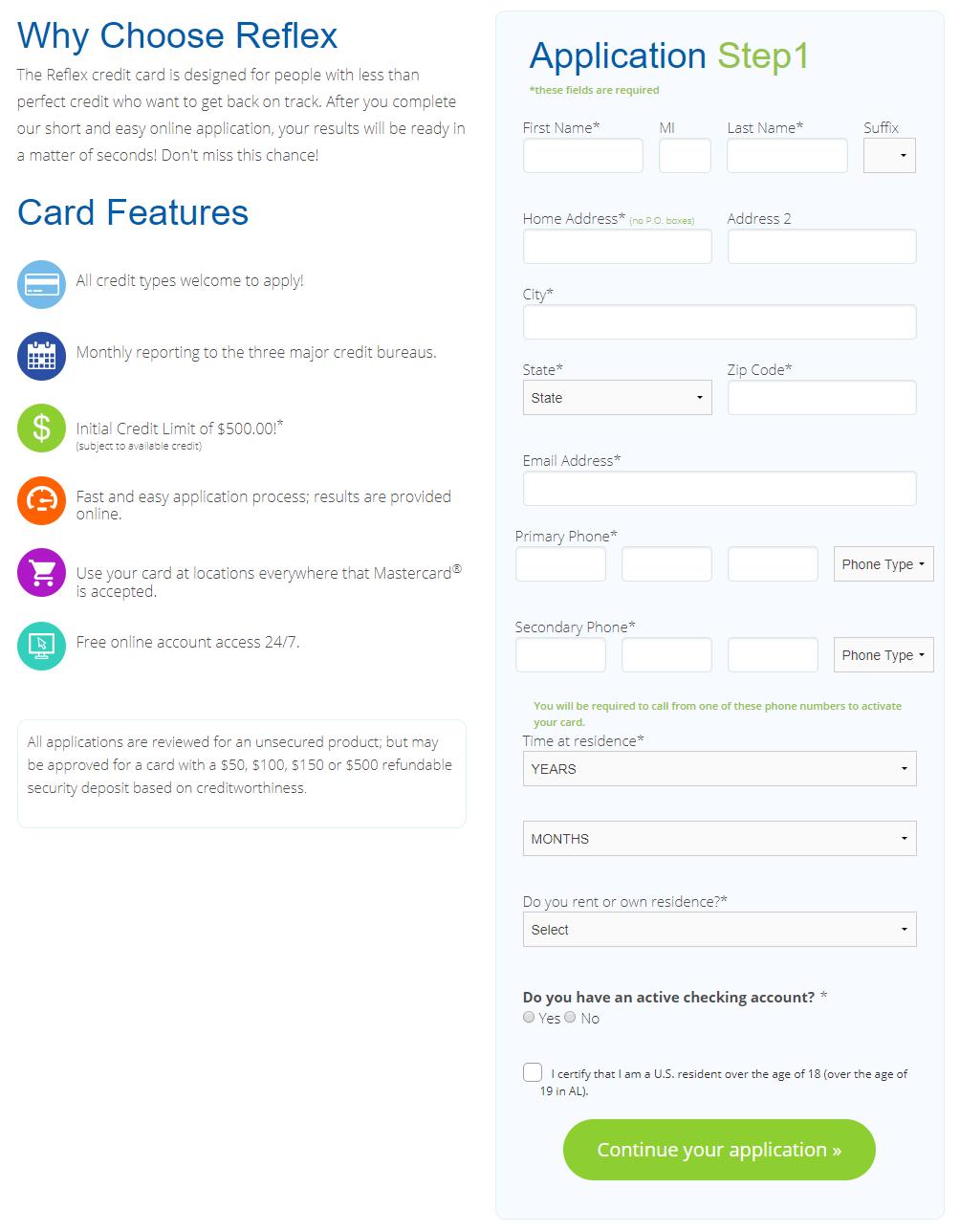 Reflex Mastercard Application