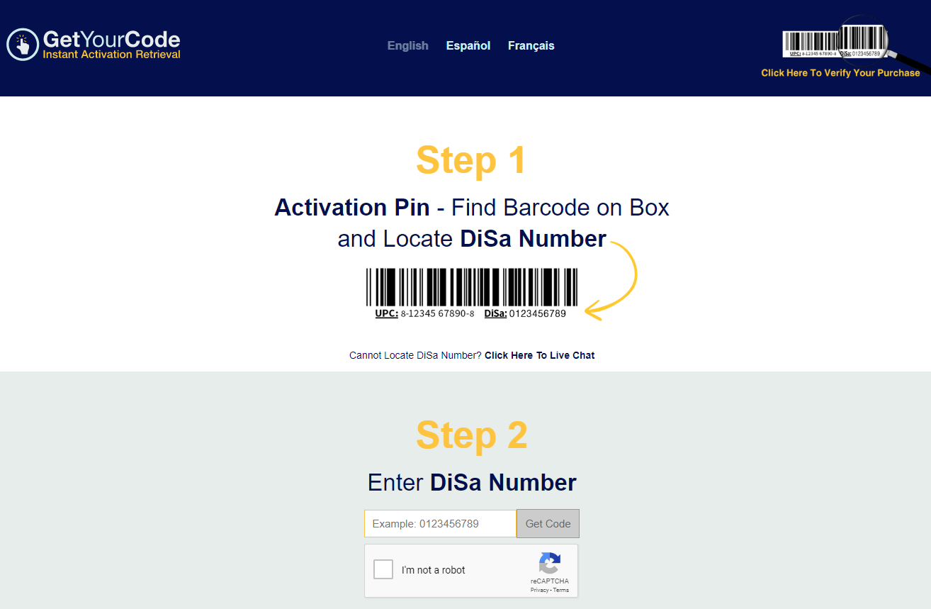 Retrieving Activation Code with DiSa Number