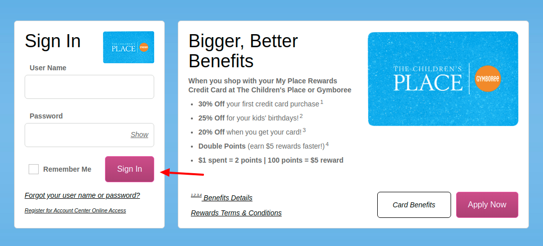 Childrens Place Rewards Credit Card Login