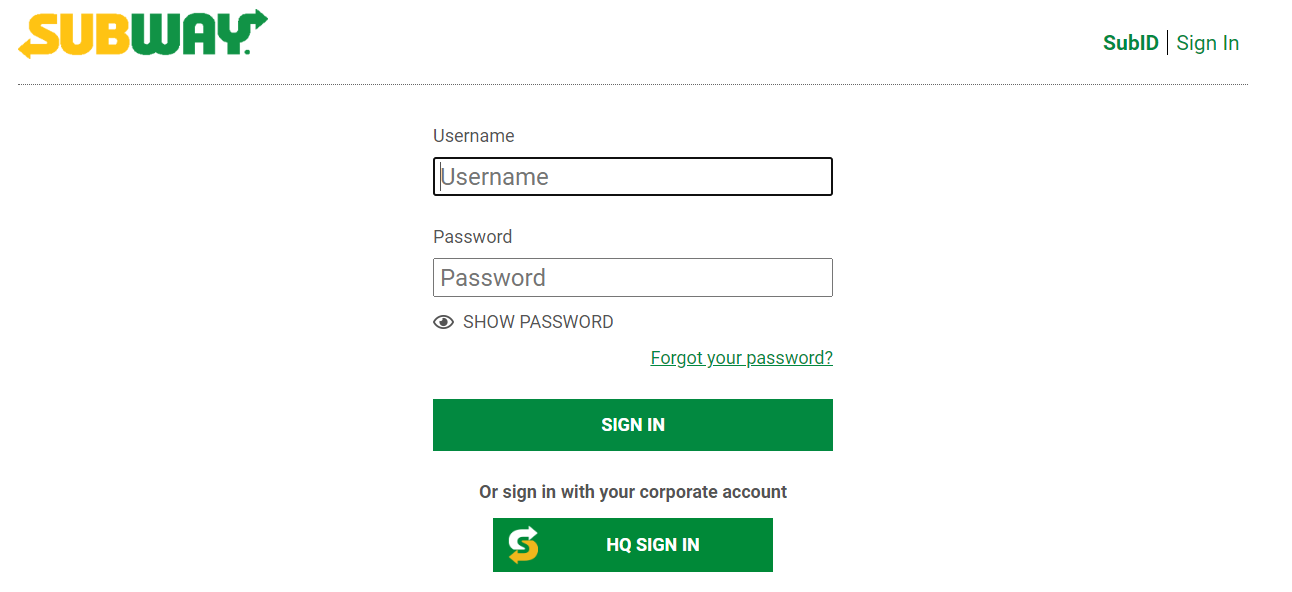 Login Process for Subway IQ Account
