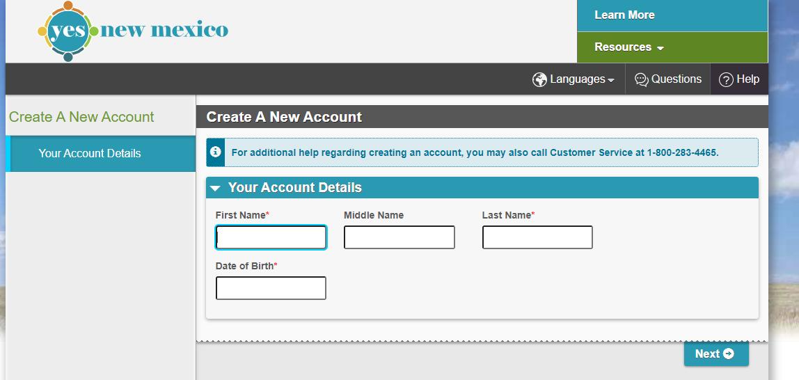 YesNM account create