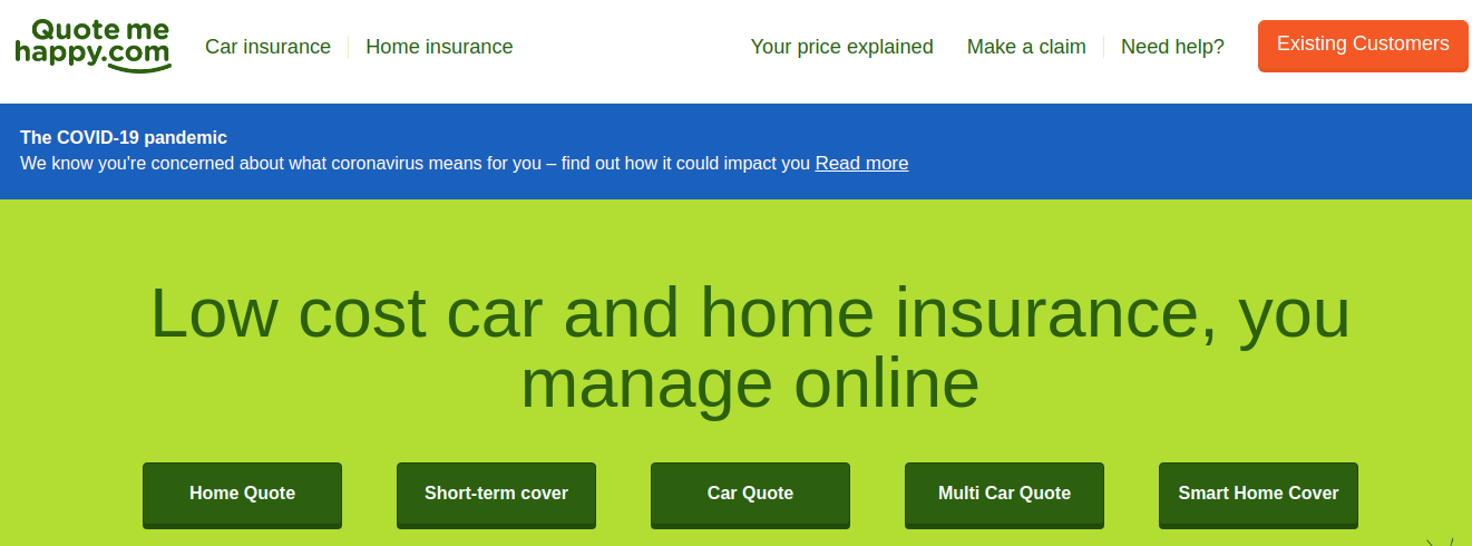 quote me happy car insurance login