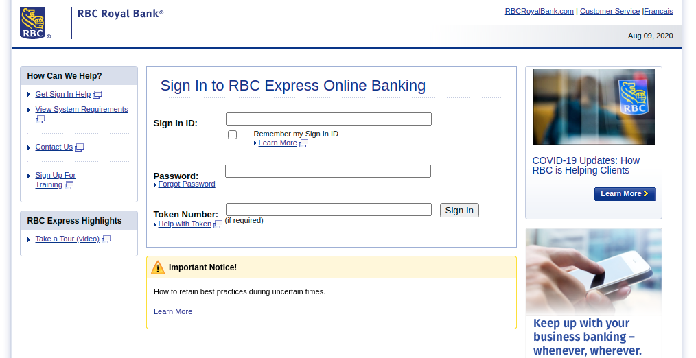 RBC Royal Bank Login
