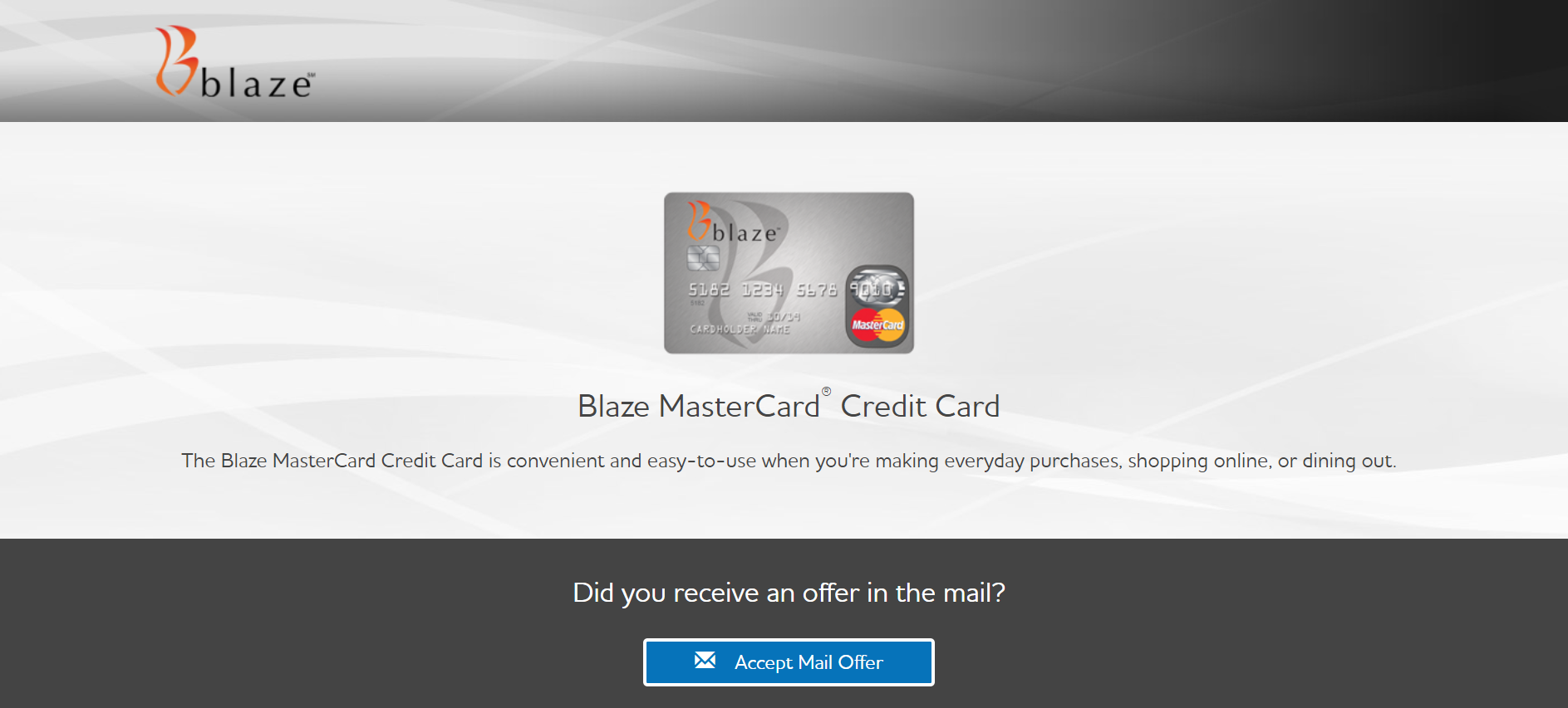 Blaze credit card login portal